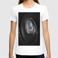 denmark T-shirts featuring Looking Up - Spiral Staircase, Copenhagen, Denmark by David Hohmann
