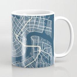 New Orleans Blueprint Street Map, New Orleans Colour Map Prints Coffee Mug