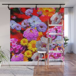 PINK-YELLOW-WHITE FLOWERS ON RED Wall Mural