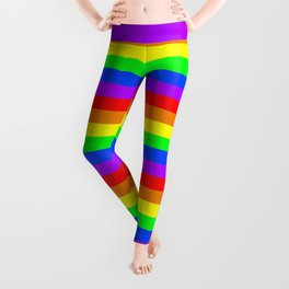 Rainbow Pride flag, Horizontal Stripes Leggings