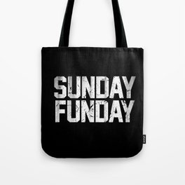 Sunday Funday Dirty Varsity Typography Print Black Tote Bag