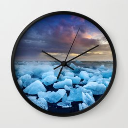 The Blue Crush Iceland Wall Clock