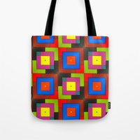 frames Tote Bags featuring Colorful Frames by Sara Dowling