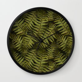 Among the ferns in the forest (military green) Wall Clock