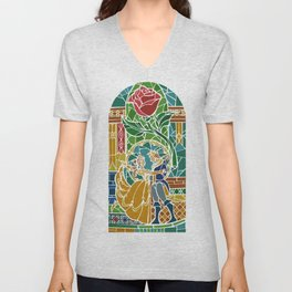Beauty and The Beast - Stained Glass Unisex V-Neck