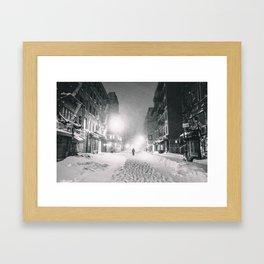 Alone in a Blizzard - New York City Framed Art Print