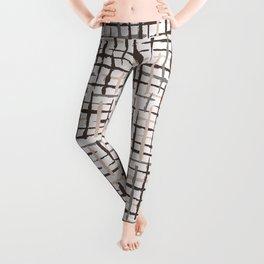 Rustic Texture Grunge Stripes Winter White Leggings