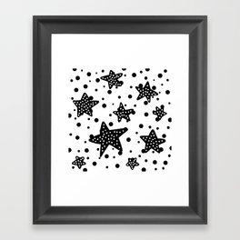 Black and white star shining Framed Art Print