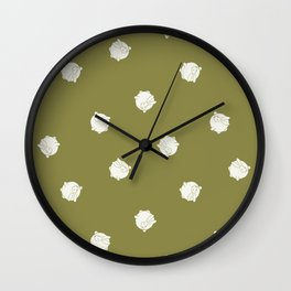 Round Bunny Pattern Cream Green Wall Clock