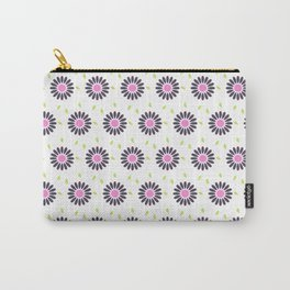 Hand painted black pink lime green floral daisies Carry-All Pouch