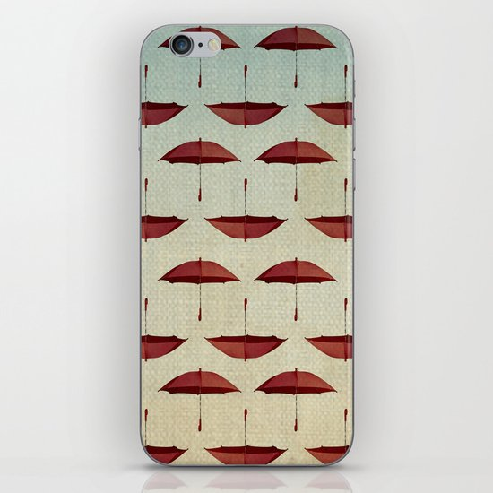 raining umbrellas pattern iPhone & iPod Skin