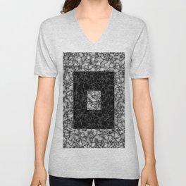Black and white marble texture 4 Unisex V-Neck