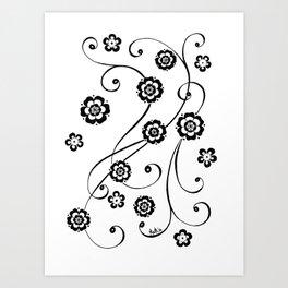 Flowing flowers Art Print