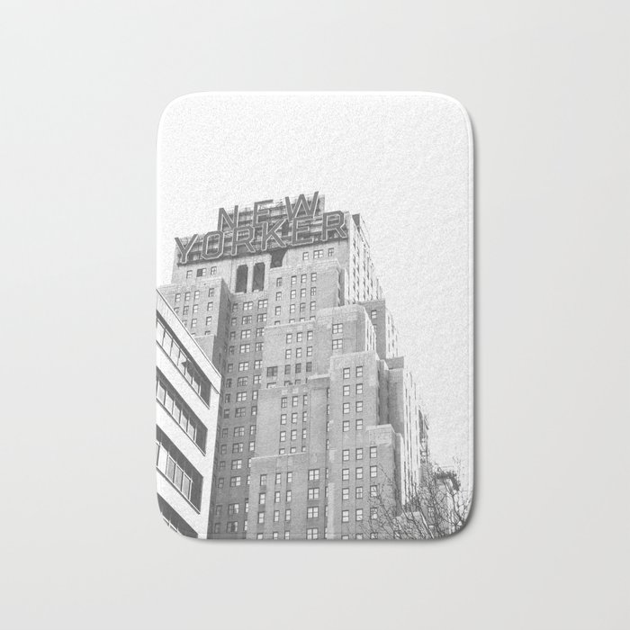New Yorker Sign - NYC Black and White Bath Mat
