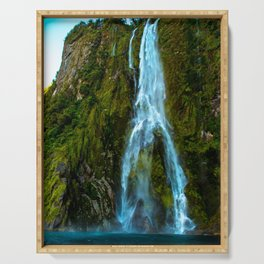 Fiordland Waterfall - Milford Sound, New Zealand Serving Tray