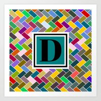 monogram Art Prints featuring D Monogram by mailboxdisco