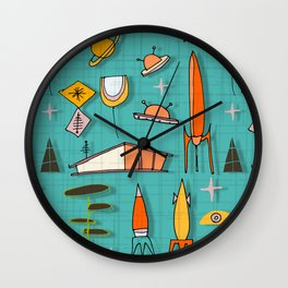 Space Age Blues #spaceage Wall Clock
