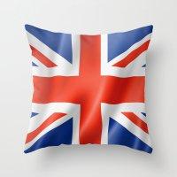 british flag Throw Pillows featuring UK / British waving flag by GoodGoods
