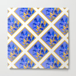PATTERNED MODERN ABSTRACT BLUE & GOLD CALLA LILIES Metal Print