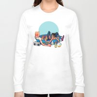 pool Long Sleeve T-shirts featuring pool party by musa