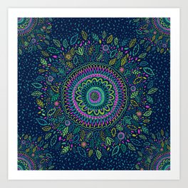 Midnight Garden Mandala Art Print