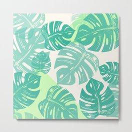 Linocut Monstera Green Metal Print