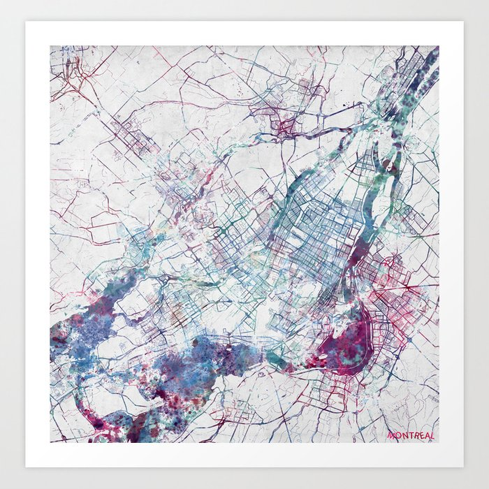 picture about Printable Map of Montreal identify Montreal Map Artwork Print