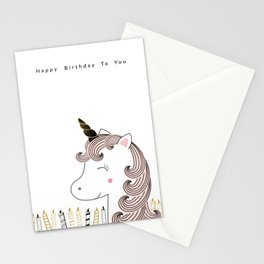 Sweet unicorn - happy birthday Stationery Cards