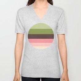 Olive Green & Pink Colorful Stripes Unisex V-Neck