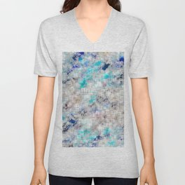psychedelic geometric square pattern abstract background in blue and dark blue Unisex V-Neck