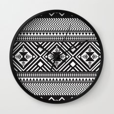 Monochrome Aztec inspired geometric pattern Wall Clock