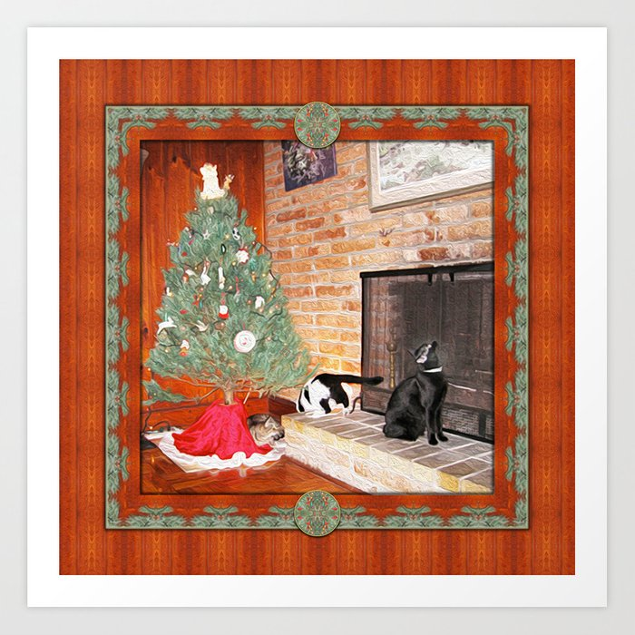 Curious Christmas Cats Art Print