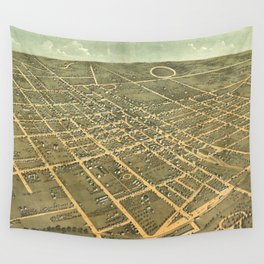 Vintage Pictorial Map of Lexington Kentucky (1871) Wall Tapestry