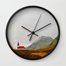 Lonely Icelandic Church Mountains Landscape Round Photo Wall Clock