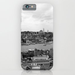 Istanbul city photography in black and white iPhone Case