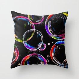 Rainbow Bubbles Throw Pillow