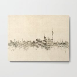 Berlin Germany Skyline Sheet Music Cityscape Metal Print