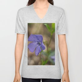 small blue flower in the forest Unisex V-Neck
