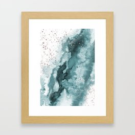 Watercolor meets Glitter - Turquoise Rose Gold - No 2 Framed Art Print