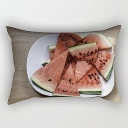 Flat lay of  watermelon on the wooden surface Rectangular Pillow