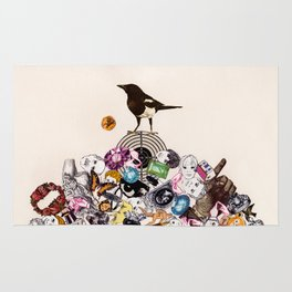 Magpie collector collage Rug