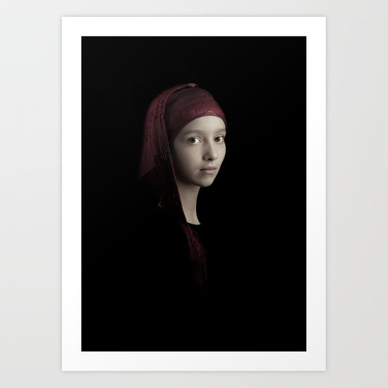 girl with the red scarf Art Print