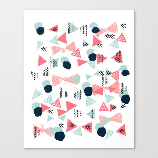 Gender neutral trendy mint navy abstract art for nursery baby college dorm Canvas Print