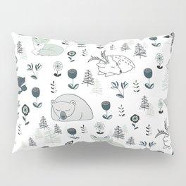 Sleepy Woodland Animals - Mint Pillow Sham