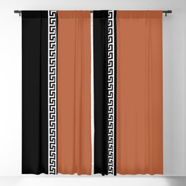 Greek Key 2 - Brown and Black Blackout Curtain