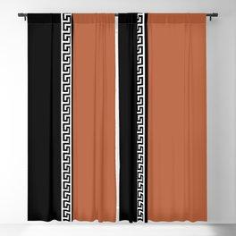 Greek Key 2 - Brown and Black Blackout Curtain