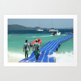 Floating pier, Banana beach, Koh Hey island, Thailand Art Print