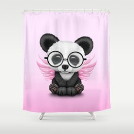 Cute Panda Cub with Fairy Wings and Glasses Pink Shower Curtain