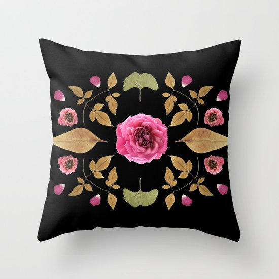 FLOWER COLLAGE N2 BLACK BACKGROUND Throw Pillow