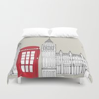 telephone Duvet Covers featuring London Red Telephone Box by bluebutton studio